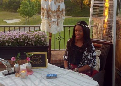 Set up for tarot card readings at the New Port Country Club