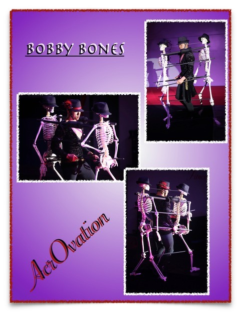 Bobby Bones performing with two dancing skeletons